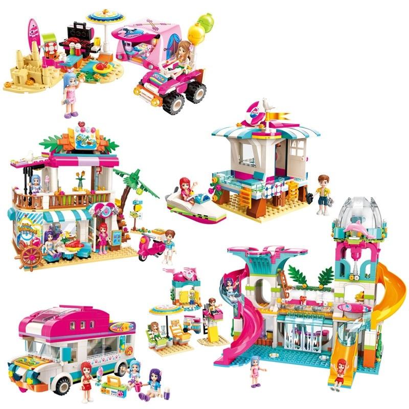Развивающая девушка, друзья, пляж, парк, кемпинг, модель, строительные блоки, фигура, игрушки для детей, рождественский подарок|Блочные конструкторы|   | АлиЭкспресс