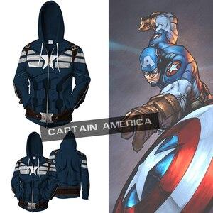 Avengers 4 U.S. Captain 3D Printed Cosplay Men's Hoodie European and American Fashion Jerseys Mens Hoodies