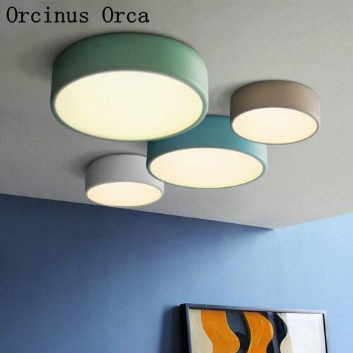 Moderne couleur circulaire plafonnier salle à manger chambre nordique personnalité créative LED plafonnier lustre à double usage