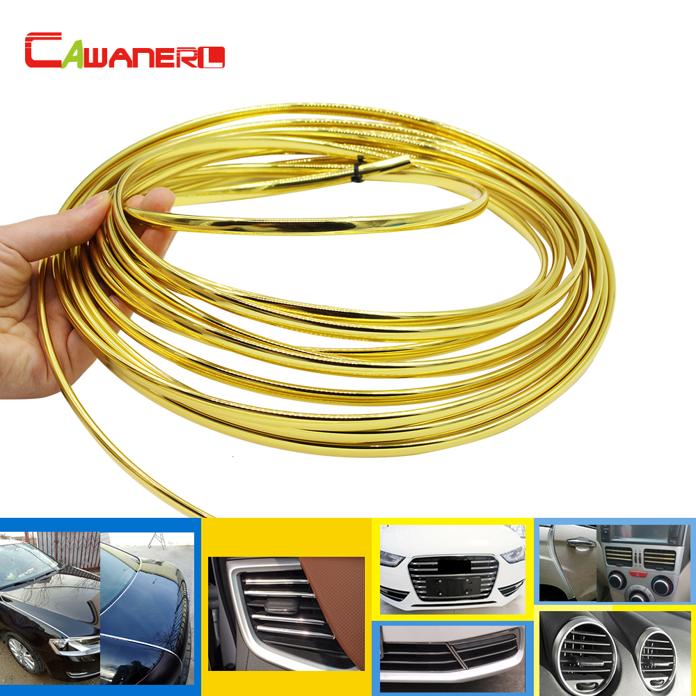 Cawanerl 1000 CM Auto Styling Chrome Trim Voor Auto Deur Airconditioner Outlet Vent Exterieur Bumper Grille Decoratie Strip Golden