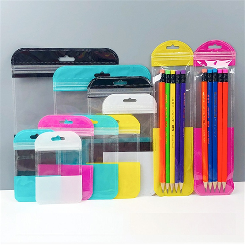 1000 ชิ้น/ล็อต 11x13 ซม.สีสันสดใสซีล ziplock กระเป๋า Hang Hole อิเล็กทรอนิกส์อุปกรณ์เสริมถุงต่างๆกระเป๋า-ใน ถุงของขวัญและอุปกรณ์ห่อ จาก บ้านและสวน บน   1