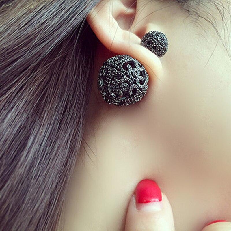 Double Sided Pearl Stud Earrings Fashion Fine Jewelry Zinc