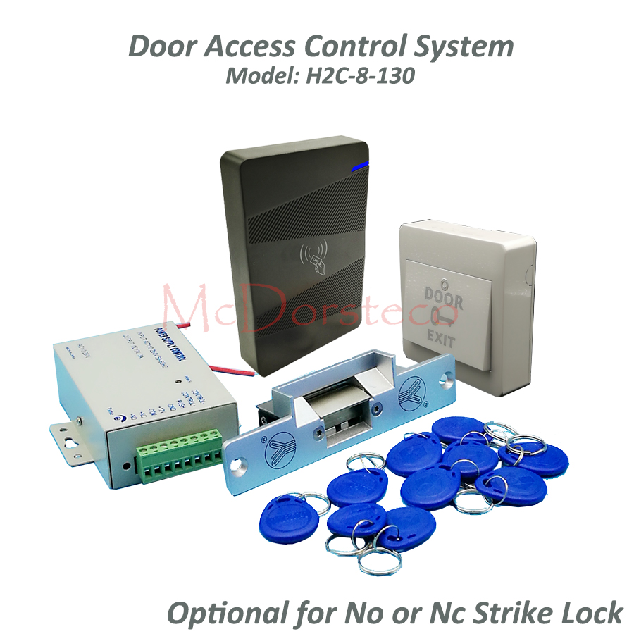 DIY Rfid 13.56Mhz waterproof Door Access Control Kit Set with Electric Strike Lock+10 RFID keyfob Card Full Door Lock System diy waterproof 125khz rfid door access control kit set electric strike lock 10 rfid card outdoor touch keypad access control