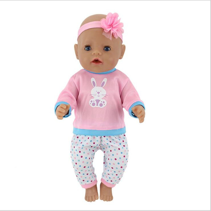 Born New Baby Fit 17 Inch 43cm Doll Clothes Doll One-piece Garment Owl Little White Rabbit Nightgown  Accessories For Baby Gift