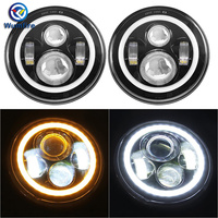 7 LED Headlights Bulb With White Halo Angel Eye Colorful Ring DRL Turn Signal Lights For