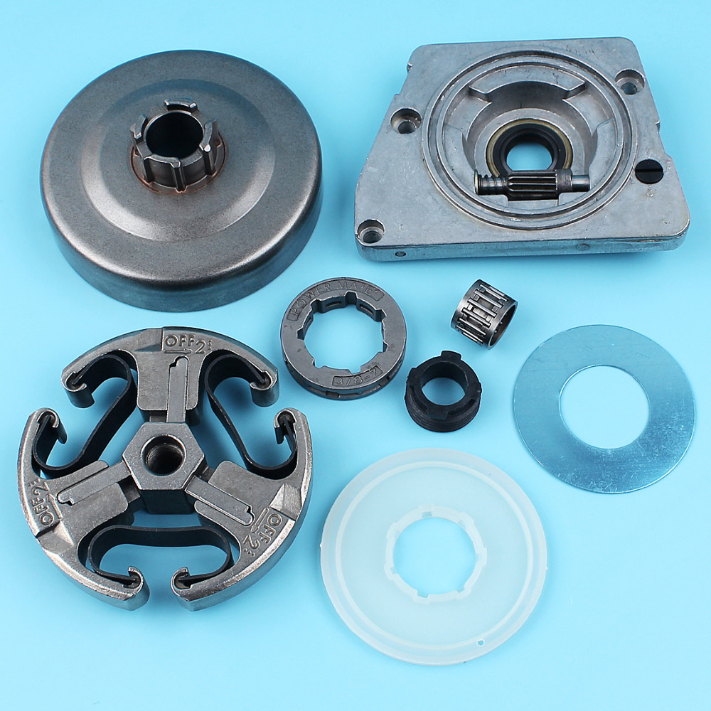3/8-7T Clutch Drum Sprocket Rim Oil Pump Washer Kit For Husqvarna 268 272 272XP 66 61 266 Chainsaw Worm Gear Dust Cover oil pump with 2pcs worm gear wheel fits husqvarna 61 266 268 162 272 replace 501512501 501513801