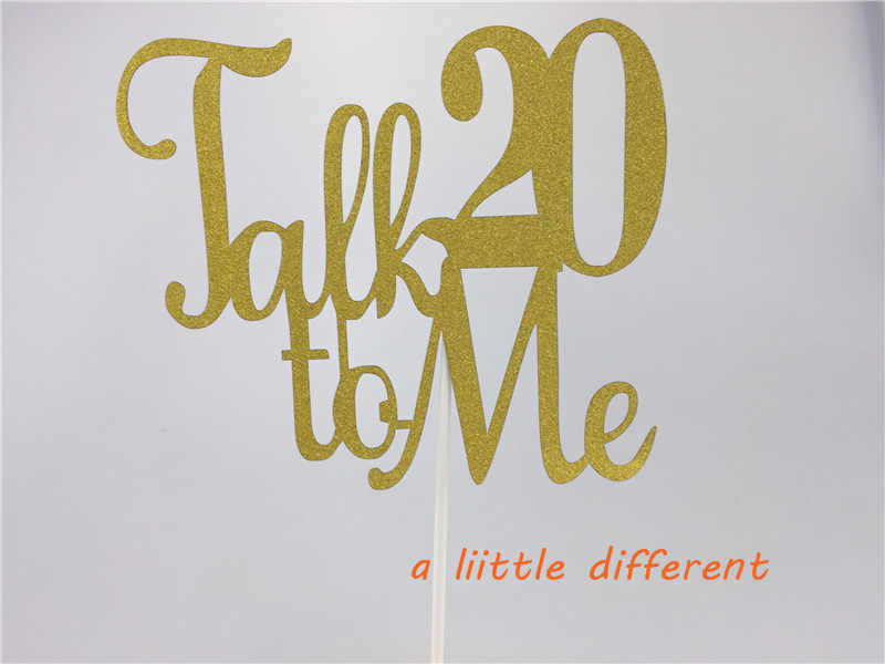 5x6inch 1pcs Set Talk 20 To Me Gold Glitter 20th Birthday Cake Topper For