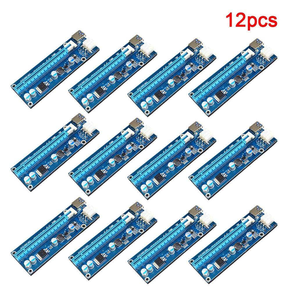 12Pcs 60cm USB 3.0 PCI-E Express 1x  Extender Riser Card w/ 4x FP Solid Capacitors Adapter 6PIN Cable for Bitcoin BTC Mining e cap aluminum 16v 22 2200uf electrolytic capacitors pack for diy project white 9 x 10 pcs