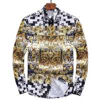 2017 Men S Shirts Luxurious Baroque Gold Flower Shirt Men Print Fashion Brand Long Sleeve Tuxedo