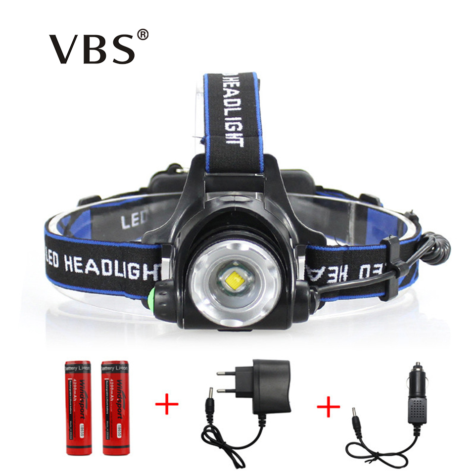 LED Headlamp Cree XM-L T6 led 2000LM rechargeable Head lamps Headlights lamp lights use 18650 battery AC Charger Head light 3 led headlight 9000 lumens cree xm l t6 head lamp led headlamp 2pcs 18650 battery charger