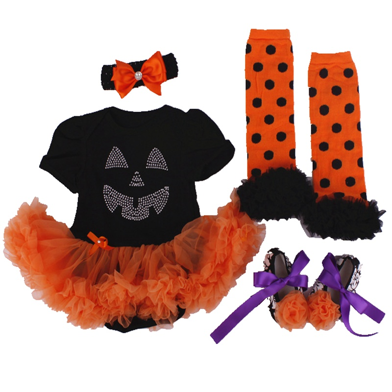0-18M Baby Girls Halloween Outfits Infant Clothing Set Lace Romper Dress Leg Warmer Shoes Headband 4PC Newborn Baby Girl Clothes
