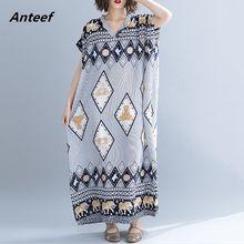 3f3558b8486b Biancheria di cotone dell annata floreale più il formato delle donne  allentato casuale maxi long vestito da estate abiti elegant.