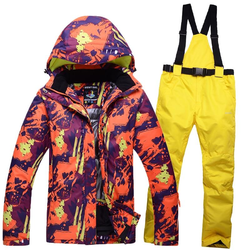 Winter Man s Woman s ski font b suit b font couple clothes thick warm ski