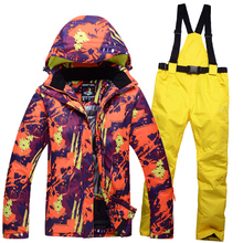 Winter Man's Woman's ski suit couple clothes thick warm ski jacket and ski pants windproof waterproof outdoor sports suit