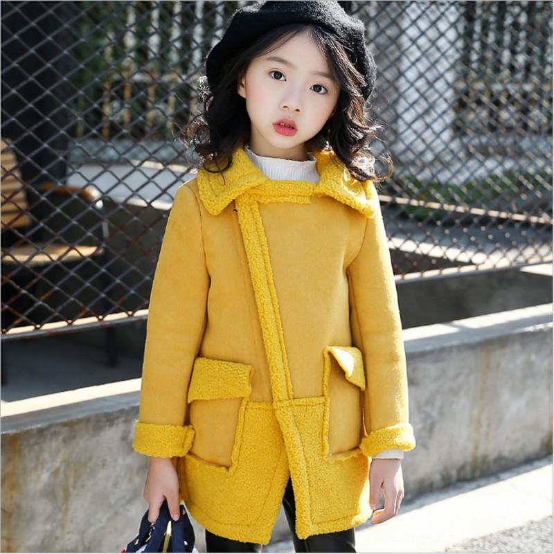 IIMADFWIW Jacket Winter Coat For Girls Fashion Turn Collar Warm Suede Windbreaker Childr ...