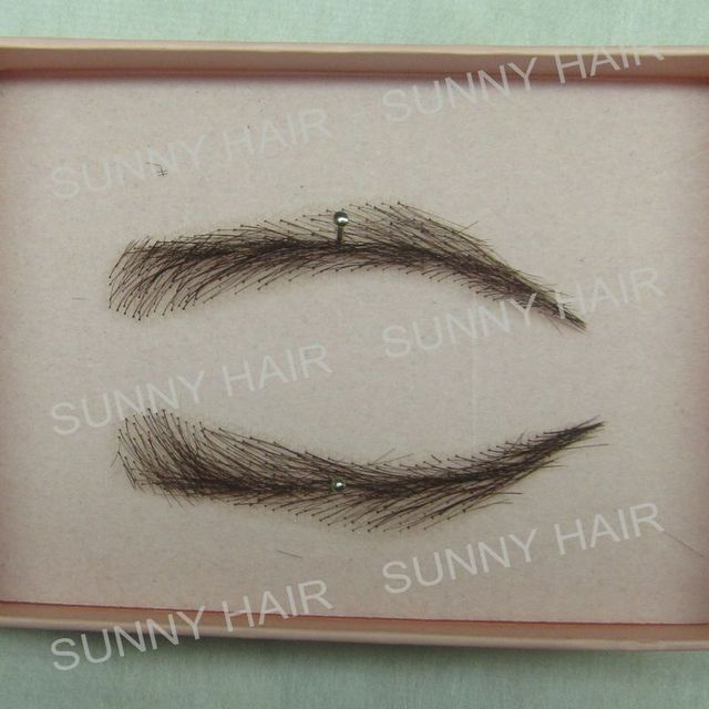 EB015 invisible swiss lace relastic hand made human hair false eyebrow DARK brown color 2