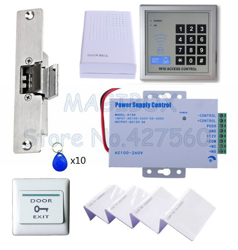 125KHZ RFID Access Control System Kit Set + Special Strike Door Lock for glass door + ID Card Keytab + Power + Exit Button diysecur rfid id card keypad door access control system kit electric lock exit button b100