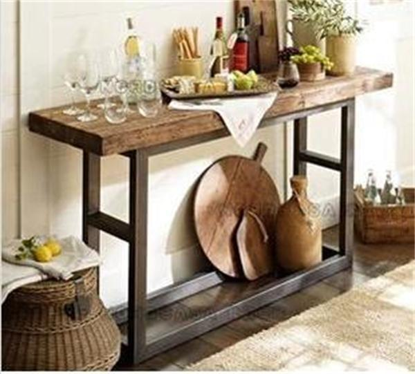 American Retro Style Wrought Iron Console Table Vintage Wood Entrance Station Altar Furniture Factory Direct
