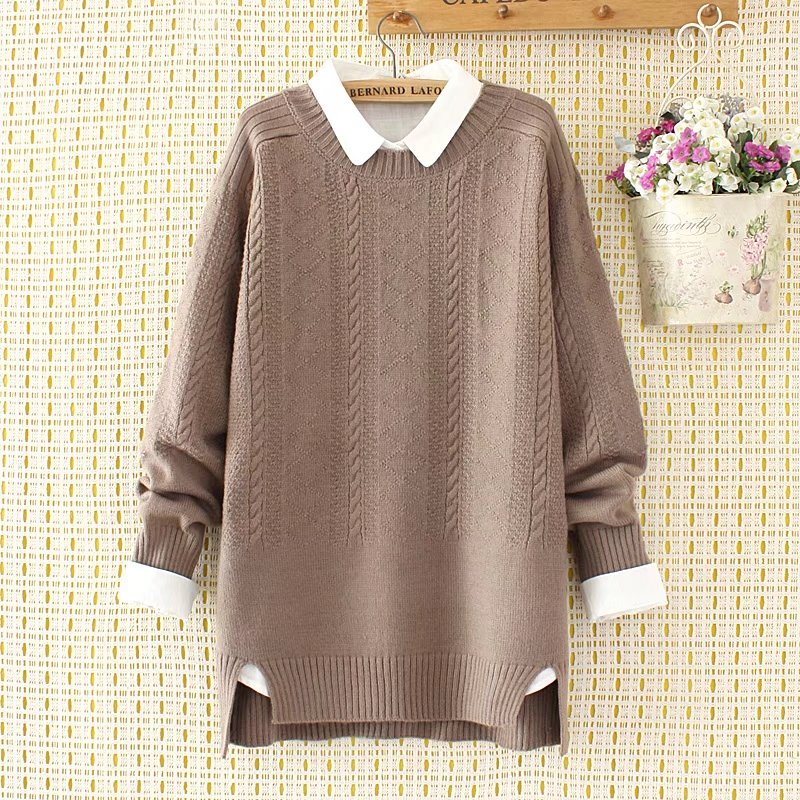Plus Size Winter Women Pullovers Criss-Cross Sweater 2019 Knitted Casual Ladies Oversize Sweater Wool Female 4XL Khaki Pink