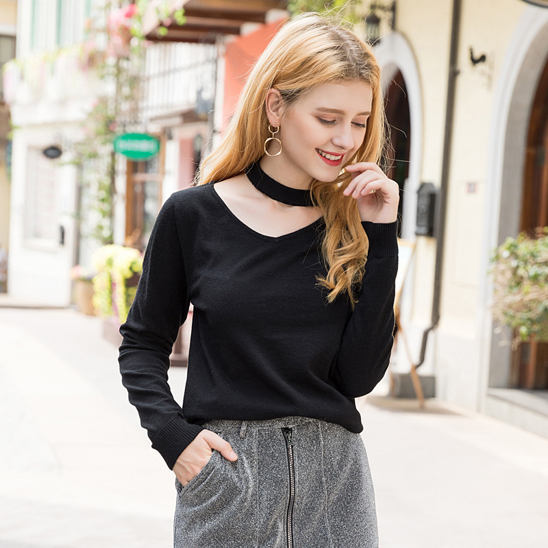 Wool Sweater Knitted Sweaters Womens Tops And Blouses Turtleneck Plus Size Fashion 2019 Spring Autumn Black V NECK Sweet