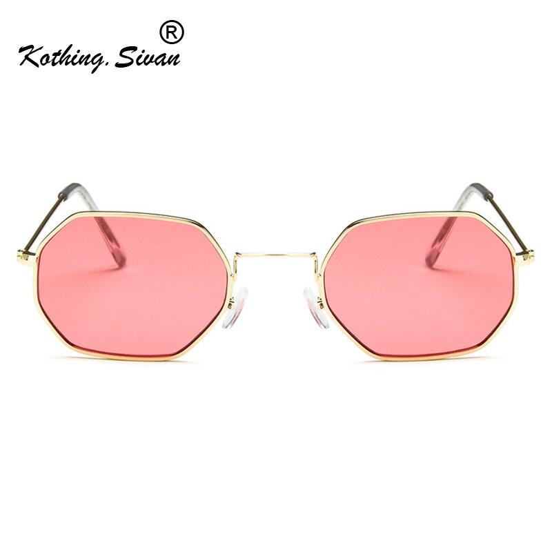 Hexagon Sunglasses Women Small Frame Polygon Sunglasses Men Blue Pink Clear Lens