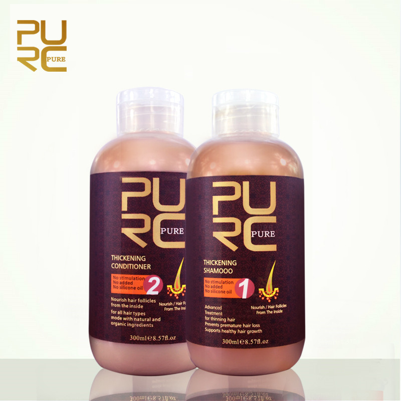 2PCS PURC Professional Ginger Shampoo and Conditioner for Hair Growth Essence Liquid Anti