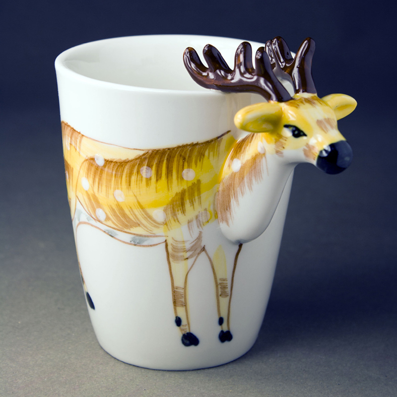 3D Roe Deer Animal Mug Hand-painted Cartoon Ceramic Coffee Mug Creative Mug Gift Ceramic Mug