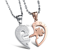 Valentine S Gift Free Shipping Personality Titanium Steel Couple Necklace Heart Love Rhinestone Lovers Necklace Quality