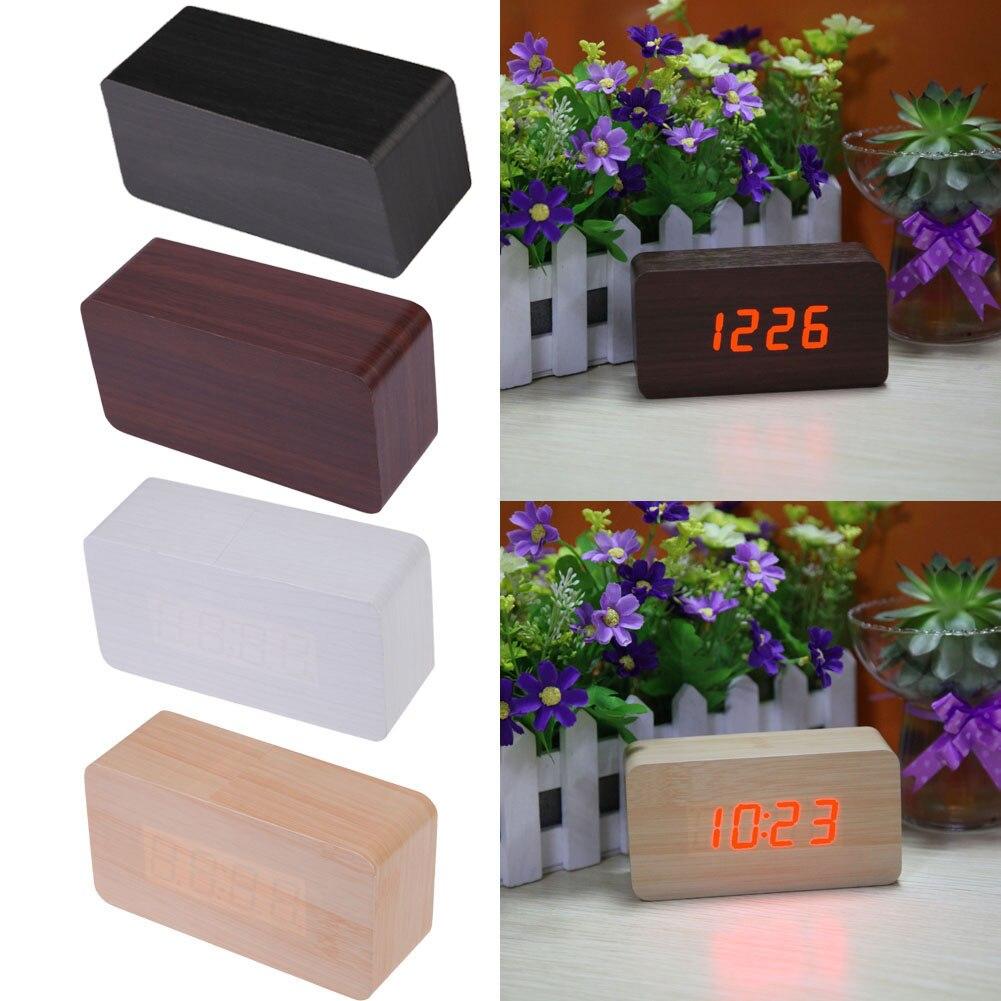 Upgrade LED Alarm Clocks Calendar Despertador Temperature Sounds Control LED Wooden Clock Display Desktop Digital Table Clocks