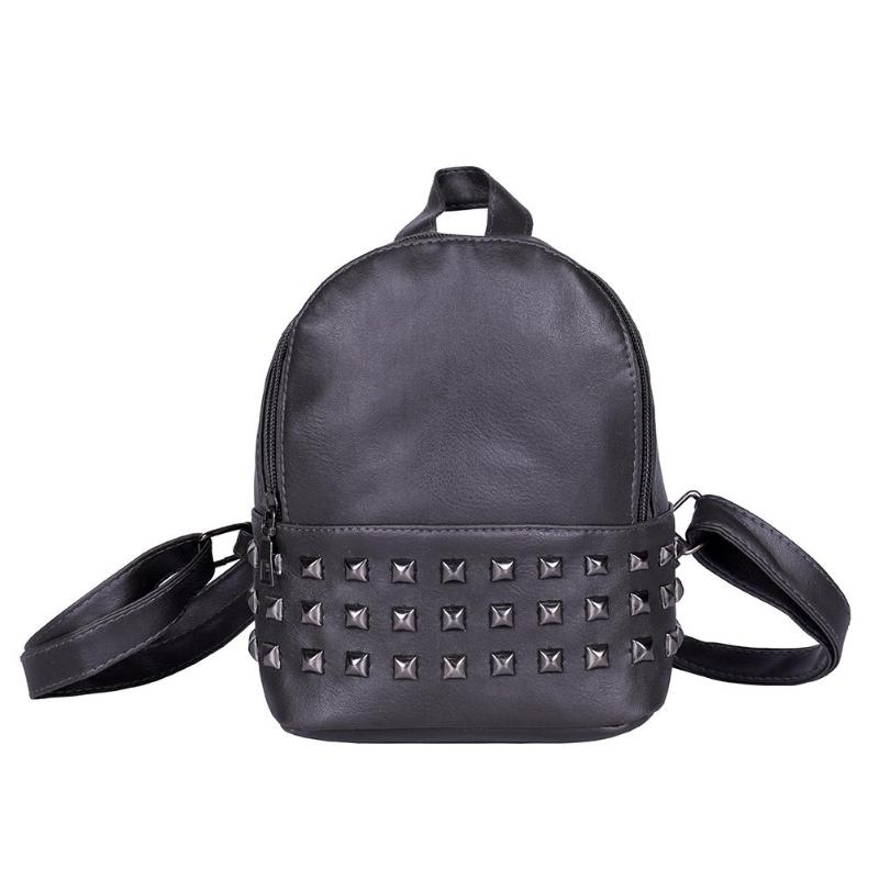 6f34b60cf02 Small Women Backpacks Rivet Zipper Pu Leather Student Backpack Women PU  Leather Casual Girls Shoulder Schoolbags Backpack