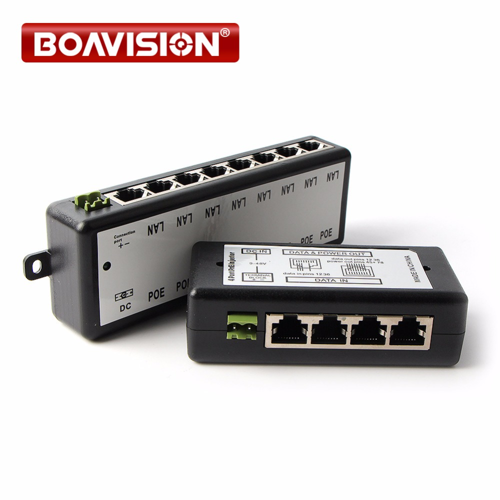 CCTV 4CH 8CH POE Injector Box DC 12V-48V 10/100Mbps POE Camera Power Supply For Surveillance IP Camera Adapter
