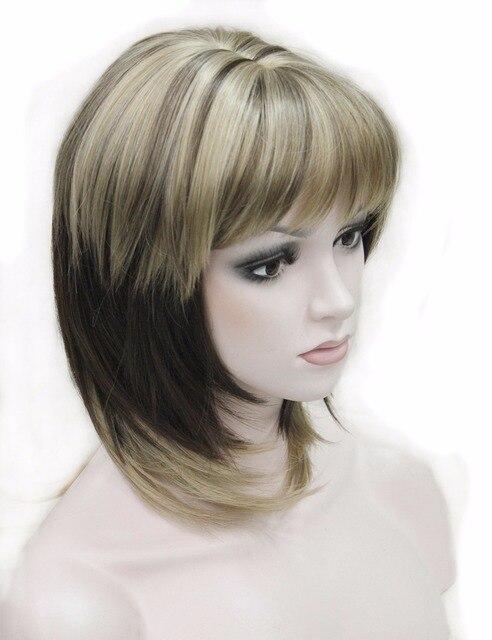 Forte Bellezza Parrucche Sintetiche Medio Lungo Rettilineo Parrucca Piena  delle Donne Ombre Con La Frangetta 05be81a1c01a