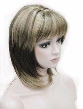 Silne piękno peruki syntetyczne średnie długie proste Ombre kobiet peruka z grzywką