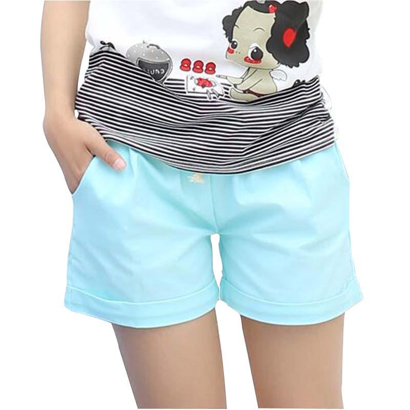 DANJEANER Women Cotton Shorts 2018 Summer Fashion Candy Color Elastic Waist Drawstring Short Pants Woman Casual Plus Size Shorts