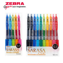 Zebra JJ15 Bolígrafo de tinta de Gel para escribir, bolígrafo de colores neutros con prensa de Clip, 0,5mm, juego de 10 colores de Japón
