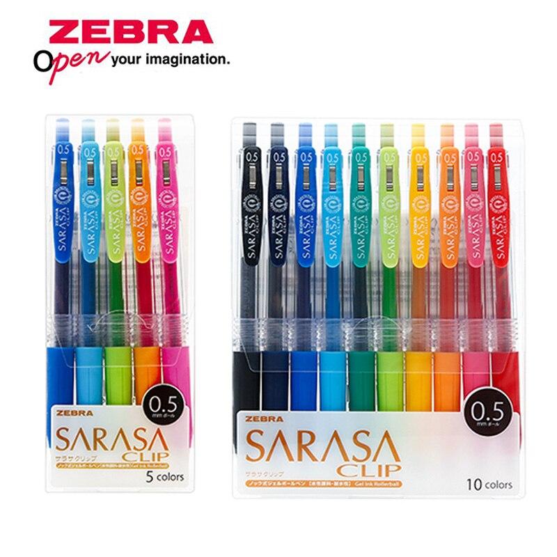 Zebra JJ15 SARASA Clip press Colorful neutral pen Gel Ink Pen writing pen 0.5mm Japan 10 Colors Set Send new packaging|Gel Pens| |  - title=