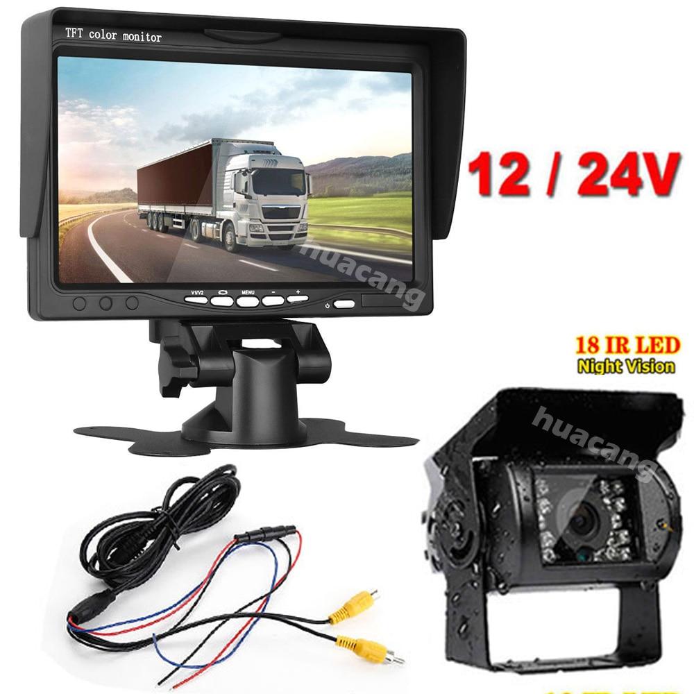 "12V-24V IR Waterproof Reversing Backup Rear View Camera 7/"" Monitor for Bus RV"