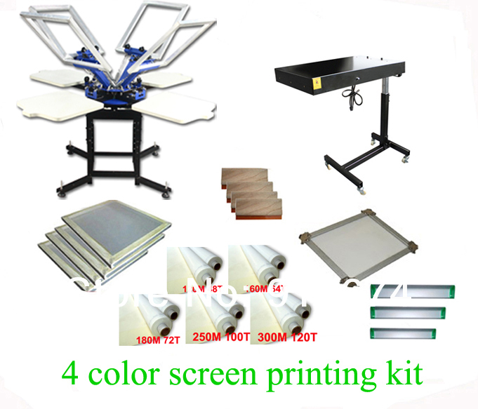 FAST FREE shipping! Hot Big Discount 4 color 4 station silk screen printing kit with flash dryer t-shirt printer stretched frame original anycubic 3d pinter kit kossel pulley heat power big size 3d printing metal printer fast shipping from moscow
