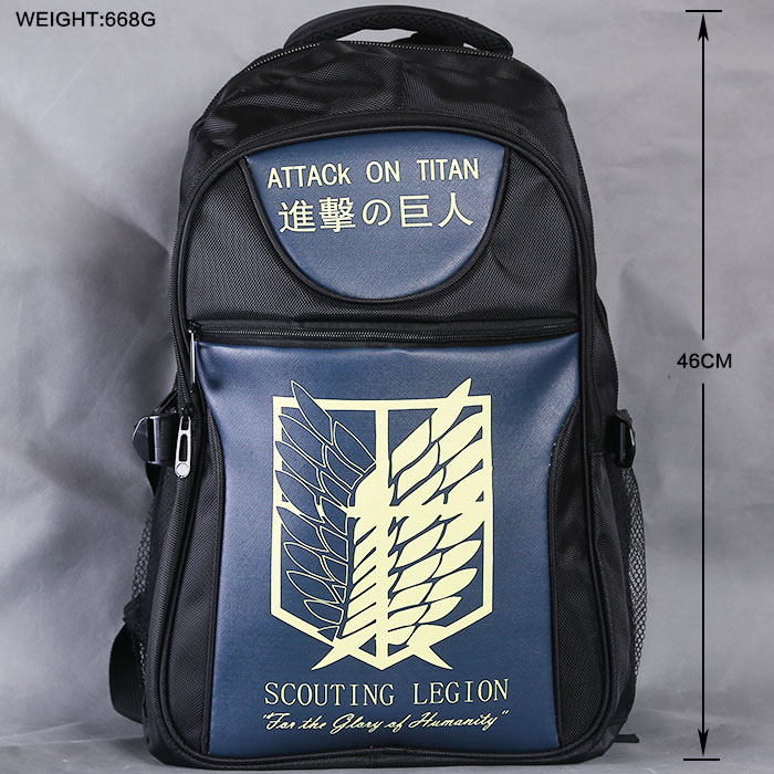 Lot Anime Bag High-quality Attack On Titan Backpack School Laptop Bag Large capacity Black Double-Shoulder Travel Bag Outdoorbag new anime gravity falls bill school backpack usb charge interface laptop travel bag unisex black shoulder travel bags