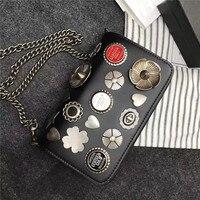 2016 New Women Lady Badge Flower Chains Designer Handbags Flap Shoulder Bag Crossbody Messenger Bags Card