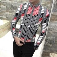 Long Sleeve Striped Shirt Men Geometric Pattern Camisa Casual Hombre Fancy Printed Non iron Nightclub Prom Wedding Man Shirt S66