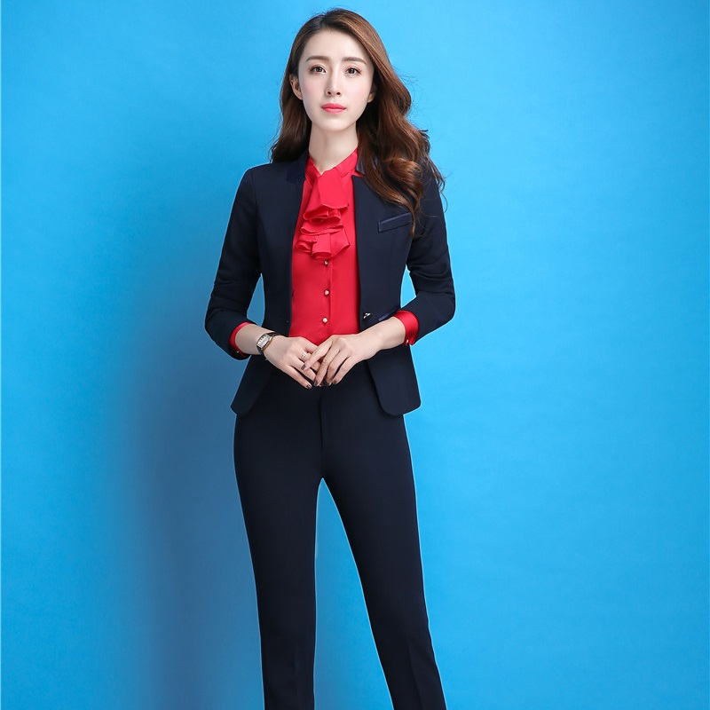 Autumn Winter Formal Professional Office Work Wear Suits With Jackets And Pants Uniform Styles Blazers Plus Size Pantsuits