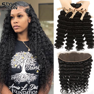 Styleicon волосы глубокая волна с фронтальной 3 Связки перуанские глубокие вьющиеся пучки с фронтальной 13X4 кружевной фронтальный с детскими вол...