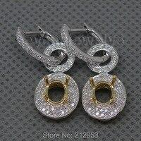 Oval 5x7mm 14Kt Two Tone Gold Earrings 0.85Ct Diamond Semi Mount Earrings