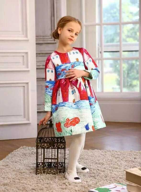 2017 Brand Designer Long Sleeve Kids Dresses for Girls Clothes Graffiti Pattern House Flower Dress Princess Costume For Easter girls dresses winter 2017 brand children dress princess costumechild dog cat house print pattern kids dresses for girls clothes