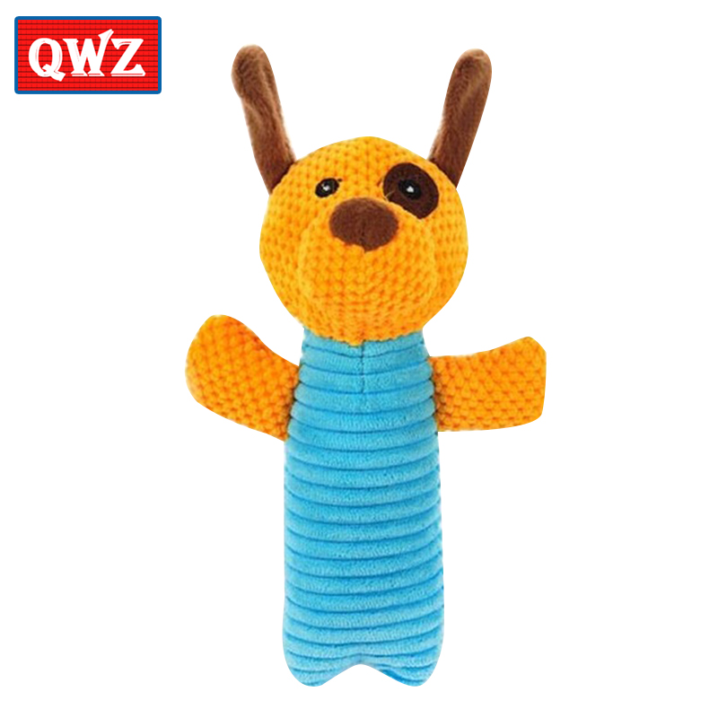 QWZ 3 Kinds Of Specifications Pet Plush Toy Dog Doll 19cm Velvet Sound doll Toys For Dog Funny Pet Interactive Stuffed Animal s