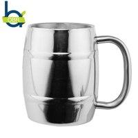 14 oz/400 ml Paslanmaz Çelik Bira Kupa Kahve Fincanları çift Duvar Kahve Kupalar Süt Çay Bardağı Bir Yudum Fincan Yaratıcı hediye