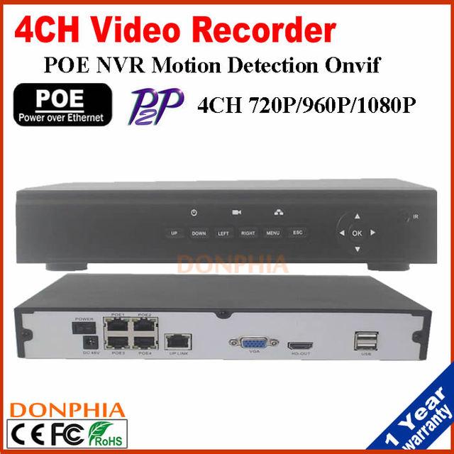 Melhor preço 4CH POE NVR Onvif HD 1080 P 48 V Real PoE NVR tudo em um Gravador de Vídeo para Câmeras IP PoE P2P Nuvem de Rede serviço
