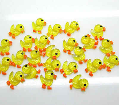 50Pcs Resin Yellow Duck Decoration Crafts Flatback Cabochon Scrapbooking Fit Hair Clips Embellishments Beads Diy