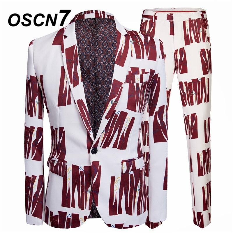 Alert Oscn7 Leisure Slim Fit Gold Print 2 Piece Suits Men 2019 Groom Wedding Suits For Men Fashion Party Two Piece Suit Men 20
